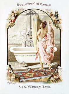 My mom would have loved this fancy bathroom-print for wall art Vintage Shabby Chic, Vintage Ads, Vintage Ephemera, Vintage Labels, Vintage Signs, Vintage Postcards, Vintage Images, Vintage Advertisements, Vintage Prints