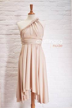 Same dress with different styling. Bridesmaid Dress Infinity Dress Nude Knee Length by craftingsg