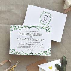 spring wreath wedding invitations | Smitten on Paper