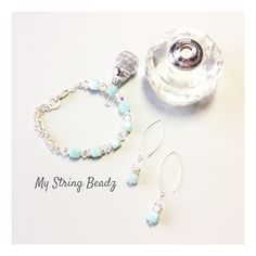 """Longer days robins chirping...it's got to have you thinking about lighter and brighter clothing.  Add some """"Soft Spring"""" colour to your wardrobe in the form of these delightful earrings and/or bracelet created with Amazonite and Swarovski crystals.  Perfect to brighten your day!!  #softspring #fromtheheart #mystringbeadz"""