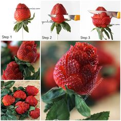 maak roosjes van aardbeien
