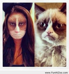 Grumpy cat makeup for Halloween - Funny Picture