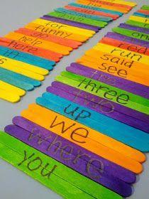 Sight word popsicle stick puzzles. Fun idea!