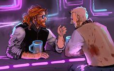 Beard talking with Jacket