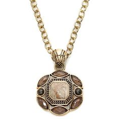 """Studio Barse African Opal, Smoky Quartz & Bronze Pendant with 20-1/4"""" Chain at HSN.com"""