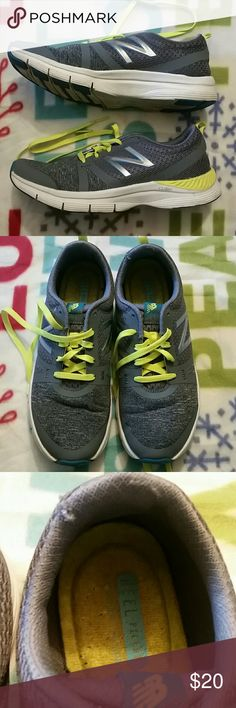 Womens New Balance 715 Running Sneakers Good condition womens running sneakers. Heel pillow cushion sole.the flaws of this sneakers are in the 2 pics.But overall good condition and the money worth.gray/florescent green New Balance Shoes Athletic Shoes