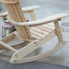 The Patio Porch All Weather Adirondack Rocking Chair - Natural makes for a great addition to any indoor or outdoor location. This Adirondack rocker is. Rocking Chair Plans, Adirondack Rocking Chair, Adirondack Chair Plans, Adirondack Furniture, Outdoor Rocking Chairs, Deck Chairs, Pallet Furniture, Furniture Plans, Rustic Furniture