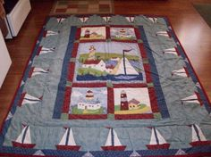 refurbished vintage lighthouse quilt  78 X by TerrysCollectables, $120.00