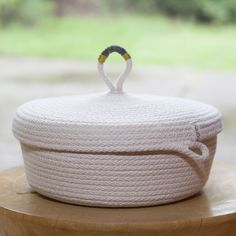 Woven Grey embodies the coastal living style with craftsmanship, rustic simplicity and natural textures for a beautifully organized life. Knit Basket, Rope Basket, Rope Crafts, Diy Home Crafts, Rope Decor, Fabric Bowls, Clothes Line, Sewing Accessories, Hobbies And Crafts