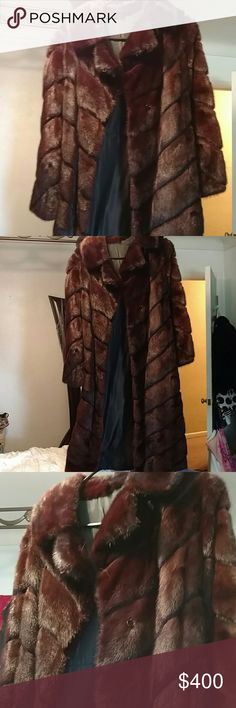 """Vintage Full Length  % Authentic Mink Coat Beautiful Vintage Full Length Red Mink Coat W/ hook closures, the seam has come apart approx. Length 8"""" on the bottom hem of coat, easy fix. Vintage Jackets & Coats"""