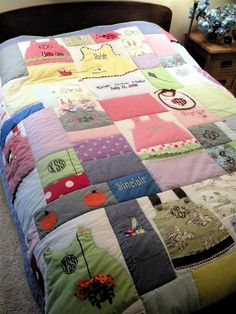 Custom Queen Size Baby Clothes Quilt