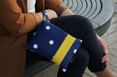 Polka Dot Navy Blue and White Clutch Bag Yellow Faux by JHBags