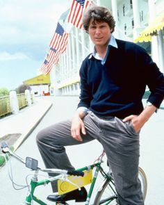 "Christopher Reeve  (in front of the Grand Hotel) on Mackinac Island (Michigan)...Film location for ""Somewhere In Time"" in 1980  w/ Jane Seymour"