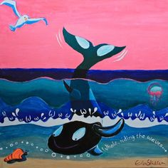 W is for Whale...'Whale, riding the waves'