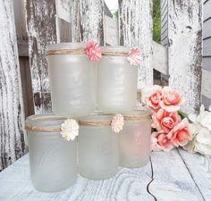 Shabby Chic givré Mason Jar bougeoirs Vases par HuckleberryVntg