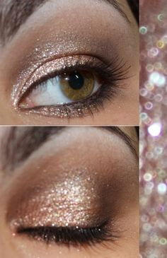 nude & bronze smokey sparkly eye makeup