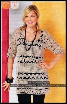 Katia Ribeiro Acessórios: Blusa em crochê  com gráfico