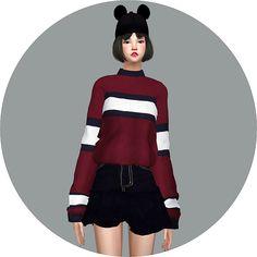 SIMS4 marigold: Half Polo-neck Sweater_반폴라 스웨터_여자 의상