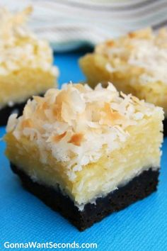 Coconut Bars have a decadent, chewy coconut topping over a layer of decadent brownie. They're so simple to make and are a must for coconut & chocolate fans! #Chocolate #Coconut #CoconutBars #Desserts Cookie Desserts, Just Desserts, Dessert Recipes, Bar Recipes, Brownie Recipes, Coconut Recipes, Banana Bread Recipes, Coconut Deserts, Coconut Cakes