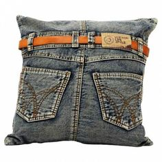 Recycled denim pillow with a jeans-inspired design. Product: PillowConstruction Material: Denim and fillingColor: Blue Features: Insert included Dimensions: x This is just too cute. I'm sure if I had the time I could make one. Sewing Pillows, Diy Pillows, Decorative Pillows, Cushions, Throw Pillows, Accent Pillows, Diy Jeans, Blue Denim Jeans, Denim Purse