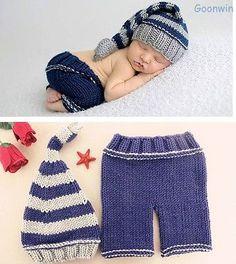 Neugeborene Baby Knit Strick Fotoshooting Fotografie Kostüm Mütze Höschen