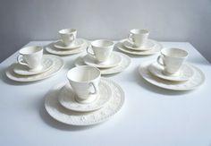 Set of 6 Wedgwood tea set Vintage Tea set English Tea set Porcelain tea set Wedding gift Teacup set White tea set English porcelain  1950s