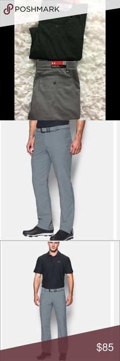 BOGO SALE Under Armour Pants Take your favorite golf pants and make them feel lighter, dry faster, and keep you cooler. When you're on the course, all you're focused on is the next hole. Loose:  Soft, stretchy woven fabric delivers total comfort Material wicks sweat & dries really fast Stretch-engineered waistband for superior mobility & insane comfort Flat-front, 4-pocket design Embroidered UA logo below left pocket Straight leg fit 5.0 oz. Nylon/Polyester/Elastane. Gray and dark green. NO…