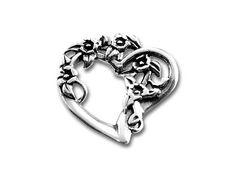 Sterling Silver Flowery Heart Charm/9.09