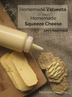 Forget the store-bought versions! Try our super-easy, HEALTHY Homemade Velveeta & Homemade Cheez Whiz - with all real food ingredients! Homemade Velveeta and Homemade Cheez Whiz are your real food answers to the chemical-laden, Homemade Velveeta, Homemade Cheese, Cheese Recipes, Real Food Recipes, Cooking Recipes, Yummy Food, Lasagna Recipes, Kefir, Butter