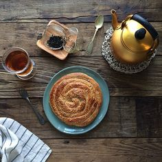 """""""Afternoon treat for me at this heavy snowy day. Tahini roll tea  #Geraldinecooks"""""""