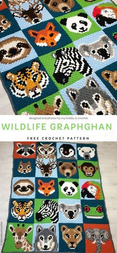 Cute Wild Animals Graphghan Free Crochet Pattern This blankie is not only a great way to keep your baby warm and cosy, but also a great opportunity to start showing him / her different animals. Crochet C2c Pattern, C2c Crochet Blanket, Quilted Baby Blanket, Knitted Baby Blankets, Afghan Crochet, Easy Crochet, Crochet Baby, Free Crochet, Kids Crochet