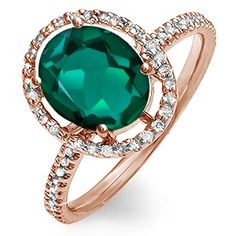 Kay - 1/5 Ct. tw Diamond Lab-Created Emerald Ring Rose Gold