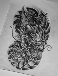 Tattoo Nik Yu - tattoo's photo In the style Oriental, Asian, Drago Koi Dragon Tattoo, Dragon Tattoo Designs, Tattoo Sleeve Designs, Celtic Tattoos For Men, Hip Tattoos Women, Japanese Tattoo Art, Japanese Tattoo Designs, Tribal Arm Tattoos, Body Art Tattoos
