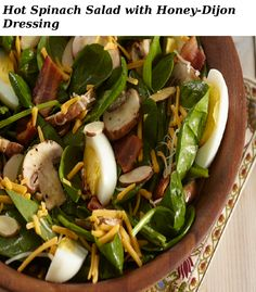 Jazz up spinach salad with tasty add-ins like bacon, mushrooms and hard-boiled eggs, and make our Hot Spinach Salad with Honey-Dijon Dressing. This Hot Spinach Salad with Honey-Dijon Dressing is perfect for dinner parties, family gatherings and more! Honey Dijon Dressing, 200 Calories, How To Cook Eggs, What To Cook, Grilled Carrots, Kraft Recipes, Recipe Please