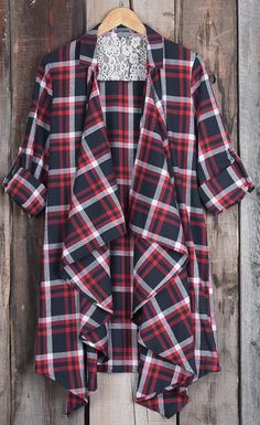 $22.99 Only with free shipping&easy return! Don't you love how casual this plaid cardigan is! And yet, it's still perfectly trendy! This lace splicing cardigan features lapel&open front design! Have it at Cupshe.com
