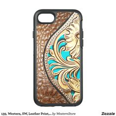 139, Western, SW, Leather Print, Gold/Turq Trim OtterBox Symmetry iPhone 7 Case