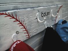 Little Boys Baseball Room | Little League Baseball Softball Hat Rack Hanger 5 by sportyracks, $45 ...