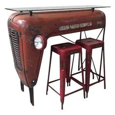 Red Upcycled Vintage Tractor Bar Dining Set