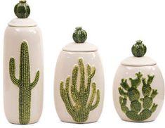 Set Of 3 Ceramic Cactus Jars #ad #cactus #cactusmania #cacti