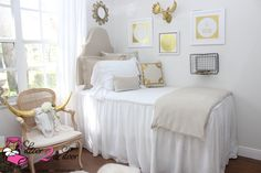 Neutral Tan White Dorm Room : Farmhouse Stye Shabby Chic