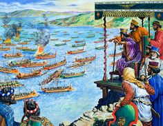 The Battle of Salamis, being watched by Xerxes, King of the Persians (whose forces were to be defeated).  Original artwork for illustration on pp14-15 of the World of Wonder Book 1971.  Lent for scanning by The Gallery of Illustration.                                                                                                                                                     More