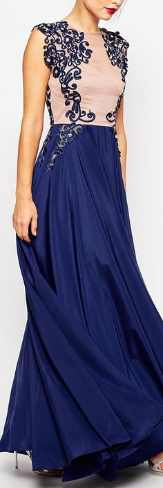 embroidered navy gown