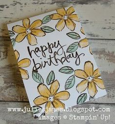 Julie Kettlewell - Stampin Up UK Independent Demonstrator -Garden in Bloom One L. Julie Kettlewell - Stampin Up UK Independent Demonstrator -Garden in Bloom One Layer card Hello Honey, Mint Macaron and . Creative Birthday Cards, Homemade Birthday Cards, Diy Birthday, Happy Birthday Cards, Homemade Cards, Ideas For Birthday Cards, Flower Birthday Cards, Happy Birthdays, Sister Birthday