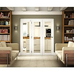 Wickes Belgrave Internal Folding 3 Door Set White Pre-finished 1 Lite 2074 x Wooden Bifold Doors, Sliding Glass Door, Bifold Doors Onto Patio, Sliding Wall, Wood Doors, Bi Fold Doors Internal, Concertina Doors Internal, Bi Folding Doors, Room Divider Doors