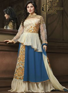 Georgette Anarkali Suits Online.Be the dazzling diva clad with this Royal Blue & Cosmic Latte Georgette Unstitched Salwar Kameez with exquisite styles and