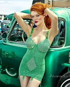 If I had an old car I'd have a closet full of matching underpinnings like this Pin up in her green girdle!