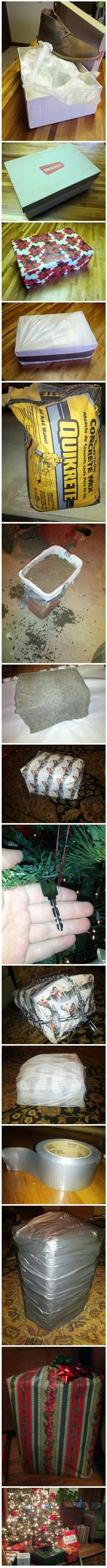 How To Properly Wrap A Present I am going to try this without the cement!!!!!!!   Lol