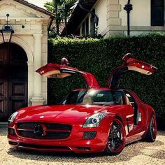 Handsome Red Mercedes SLS AMG - check out those gullwings