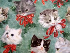 Vintage Christmas wrapping paper. Adorable kittens, holly, snow. Love this!
