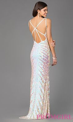 Sequin Floor Length V-Neck Dress by Primavera at PromGirl.com